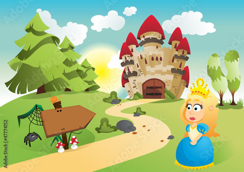 Printed kitchen splashbacks Castle The princess and her kingdom