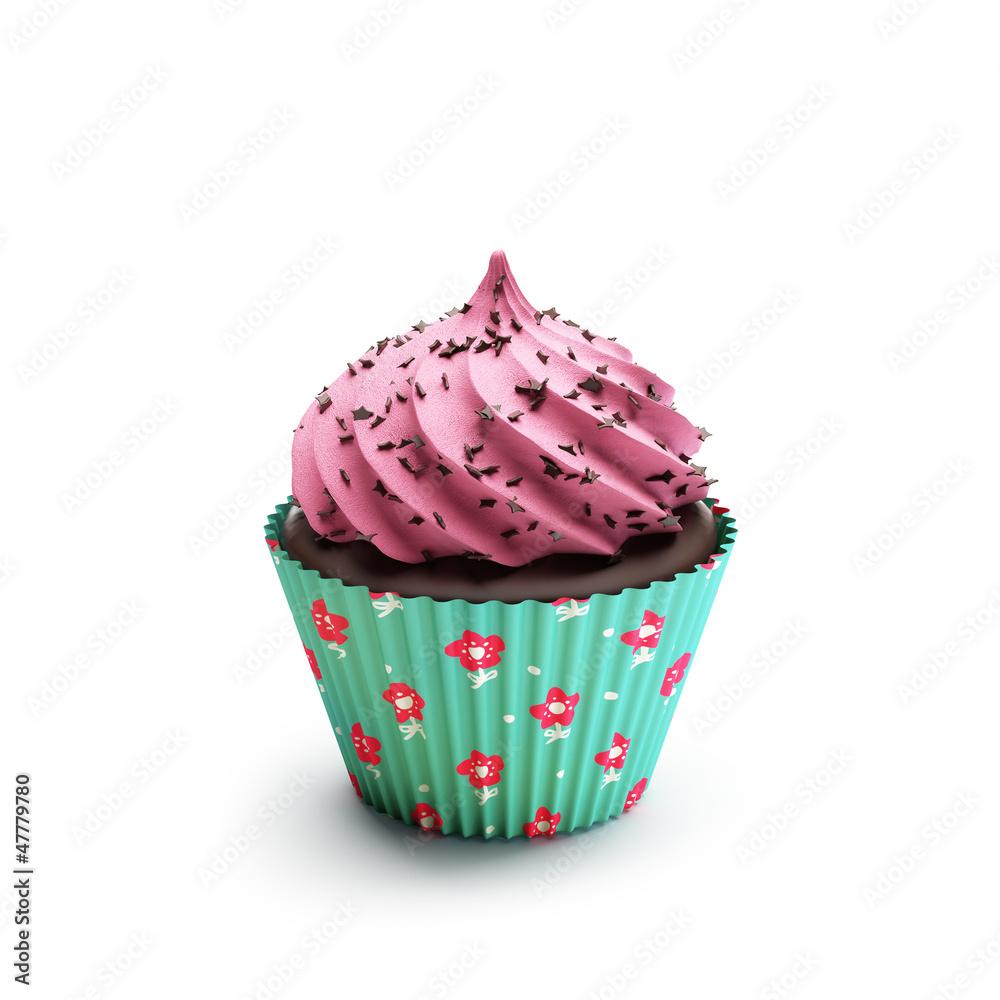 Lokalisierter Rosa Und Gruner Schokoladenerdbeerkleiner Kuchen