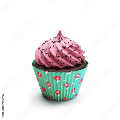 Photo  Isolated pink and green chocolate strawberry cupcake, dessert