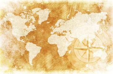 FototapetaRustic World Map