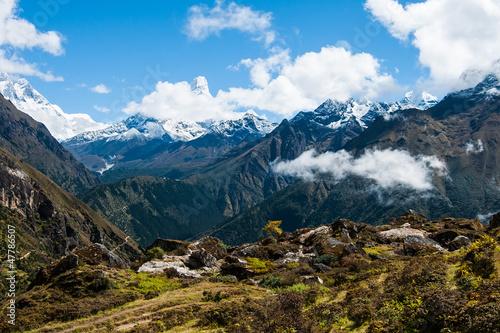 Ama Dablam and Lhotse peaks: Himalaya landscape Poster