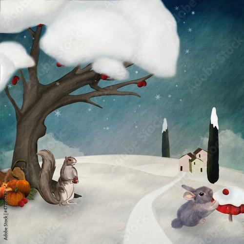 zasoby-zimowe-cyfrowa-malowana-ilustracja