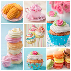 Fototapeta Pastel colored cakes collage