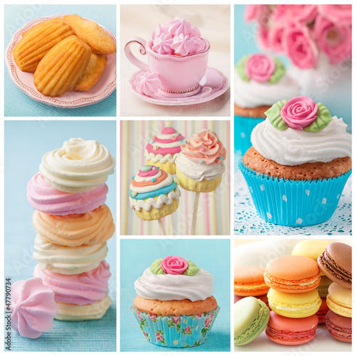 Pastel colored cakes collage - 47790734