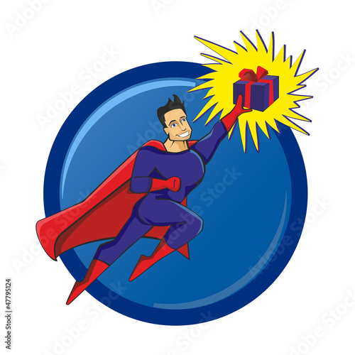 Photo sur Aluminium Super heros Superhero with a gift in hand