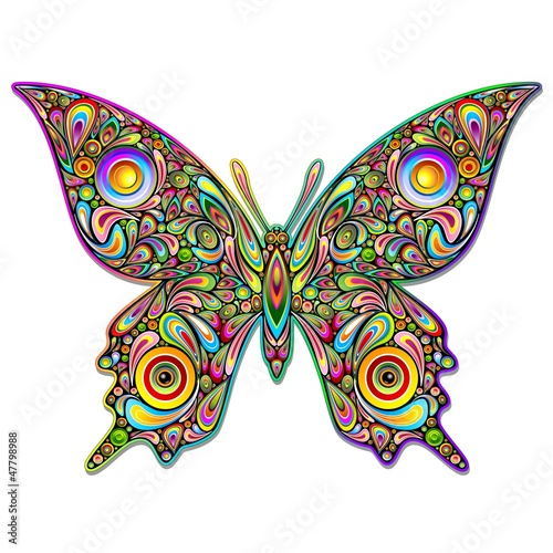 Foto op Canvas Bloemen vrouw Butterfly Psychedelic Art Design-Farfalla Stile Psichedelico