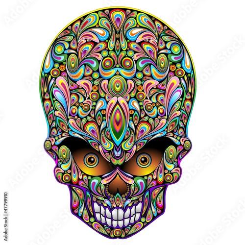 Foto op Canvas Bloemen vrouw Skull Psychedelic Art Design Halloween-Teschio Psichedelico