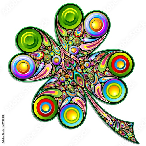Foto op Canvas Bloemen vrouw Shamrock Clover Psychedelic Art Design-Quadrifoglio Psichedelico