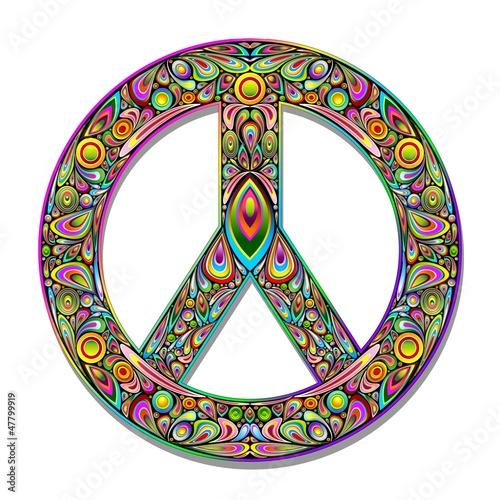 Canvas Prints Draw Peace Symbol Psychedelic Art Design-Simbolo Pace Psichedelico