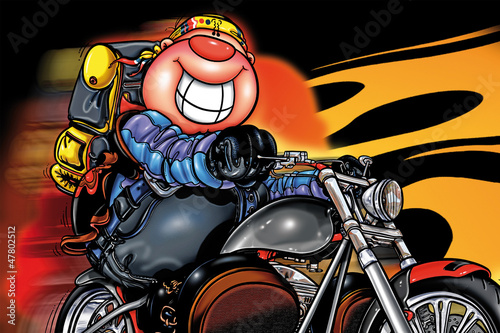 Poster Motocyclette smile in motorcycle
