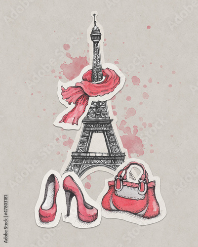 Recess Fitting Illustration Paris Eiffel Tower, shoes and handbag
