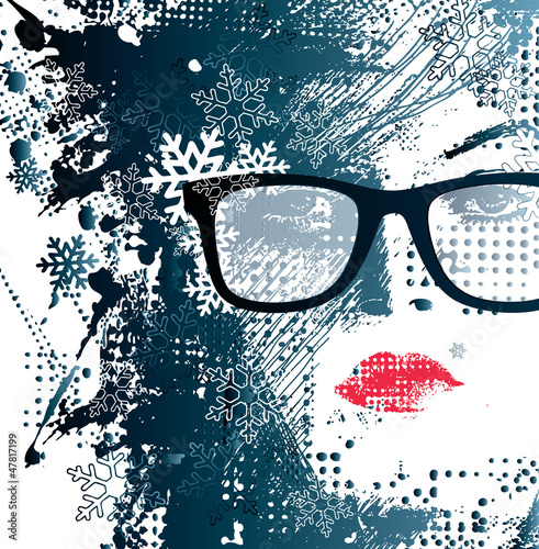 Tuinposter Vrouw gezicht abstract illustration of a winter woman