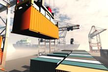 Industrial Port Sunset Sunrise 3D Render