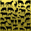 Big farm animals detailed silhouettes illustration vector
