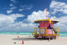 Round Pink Lifeguard Station On Miami Beach