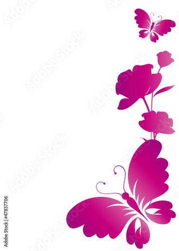 Naklejka ścienna Piękne różowe motyle na białym tle