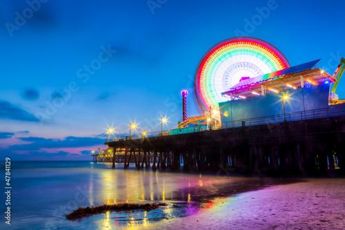 City on the water Santa Monica Pier at dusk