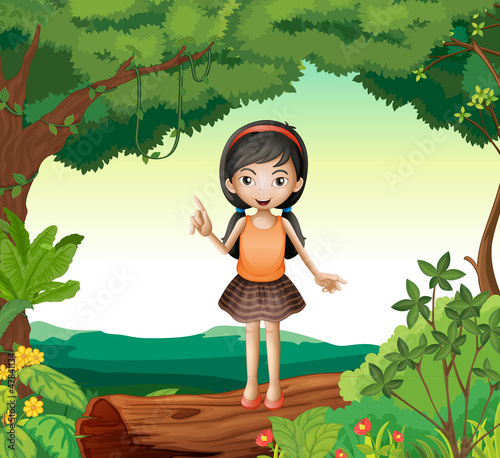 Fotobehang Fantasie Landschap A girl standing on wood in nature