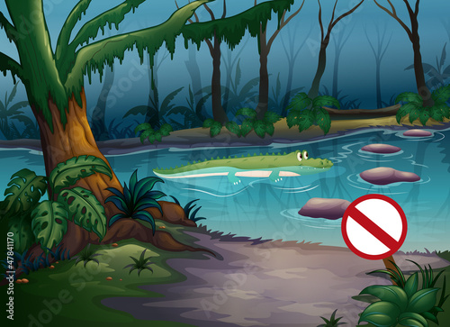 Photo sur Aluminium Fantastique Paysage A crocodile in the jungle