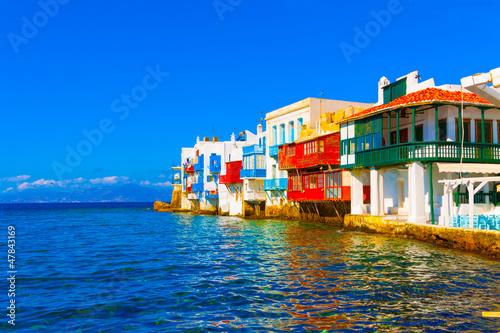 Little Venice closeup view Mykonos island Greece Cyclades