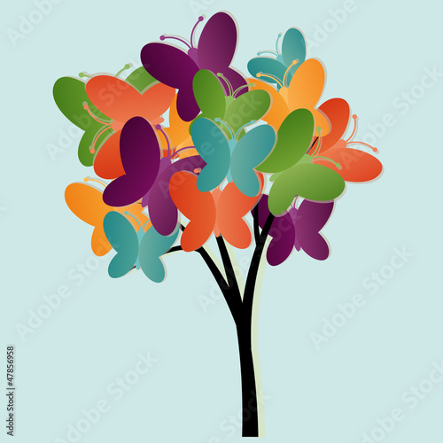 Poster Vlinders Abstract tree illustration with butterflies