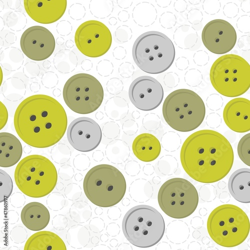 Plakat szare i zielone guziki na białym tle w jasne kółka