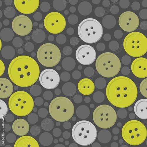Plakat szare i zielone guziki na ciemnym tle w szare kropki