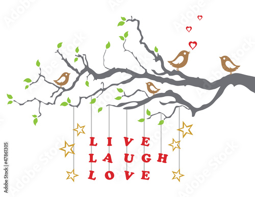 Photo  Love birds on a tree branch with live laugh love