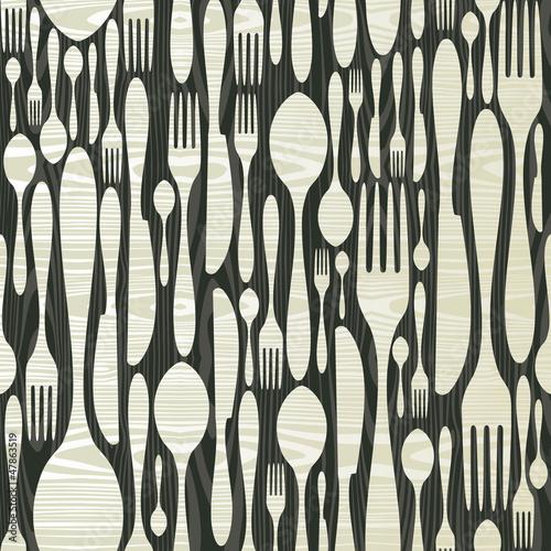 Fototapeta do kuchni Seamless silverware wooden pattern