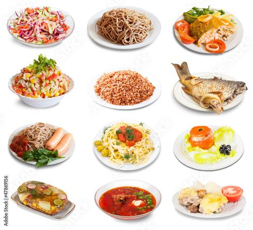 Set of group plates with food © JackF
