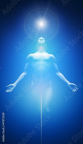 Akustikstoff - Licht Transformation Blau Weiß