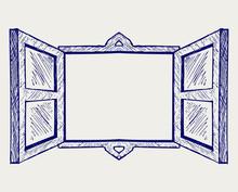 Wooden Window. Doodle Style