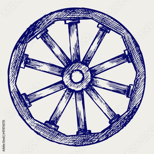 Fotografía  Wooden wheel. Doodle style