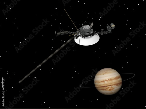 Fotografia, Obraz Voyager spacecraft near Jupiter and its unknown ring - 3D render