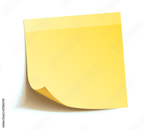 Fototapeta Yellow stick note isolated on white background obraz