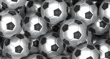 Group Of Metallic Soccer Balls