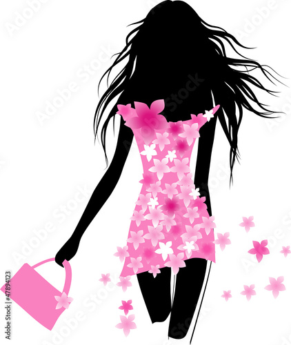 Door stickers Floral woman Fashion girl with bag