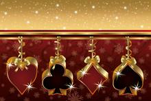 Christmas Poker Golden Card, V...