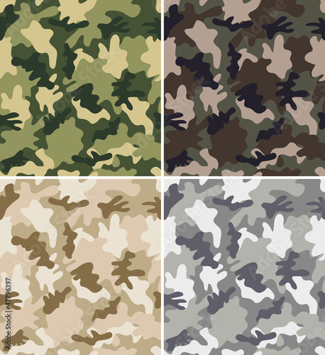 Fotografía  Different Camouflage Seamless Patterns