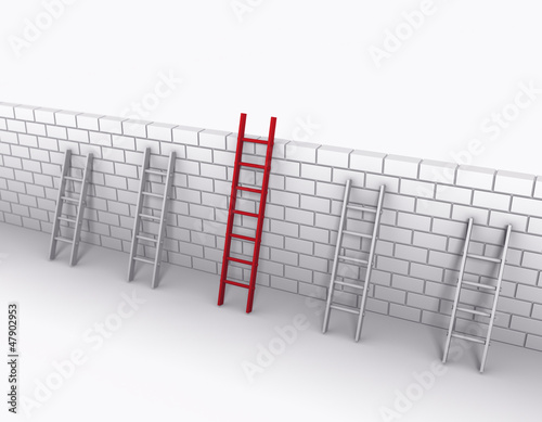 Photo 3D Ladders Leaning Against A Wall