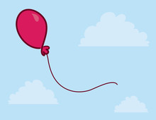 Pink Balloon Floating In The Sky