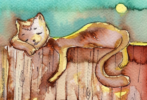 Fototapeta cat, watercolor, obraz