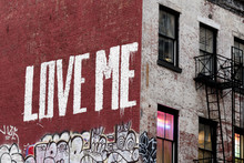 New York LOVE ME Painting On Manhattan Building