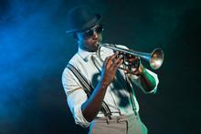 Black American Jazz Trumpet Pl...