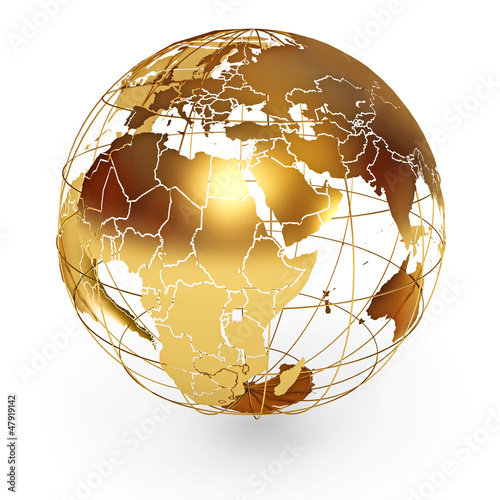 Fotografie, Obraz  Golden Globe. Icon isolated on white background. 3d render
