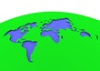 canvas print picture - green globe world map