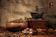 Coffee Grinder And Cup Of Coff...