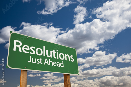 Fotografie, Obraz  Resolutions Green Road Sign