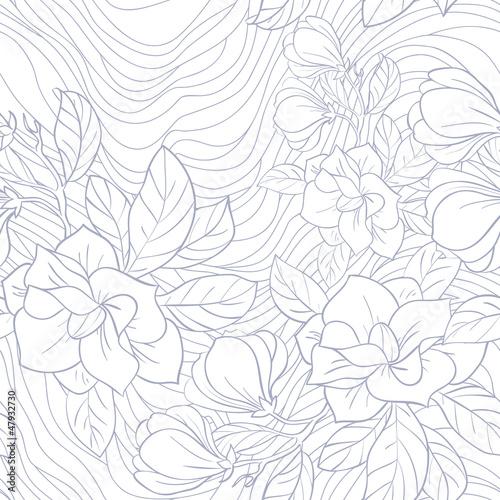 Fotografie, Obraz  Jasmine floral vector seamless pattern