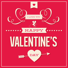 Happy Valentines Day Card Design Vector